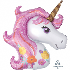 Pink Glittery Unicorn Super Shape Foil Balloon